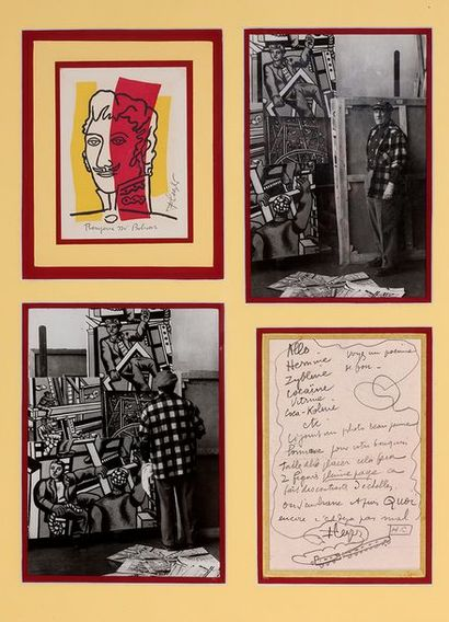 LÉGER FERNAND (1881-1955). L.A.S. «FLeger» avec DESSIN, et P.A.S. sur carte postale,...