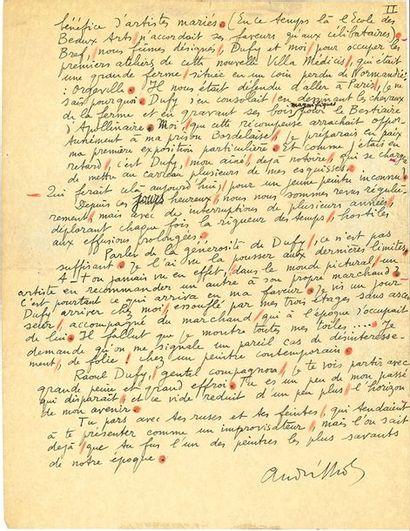LHOTE ANDRÉ (1885-1962). MANUSCRIT autographe signé «André Lhote», [23 mars 1953];...