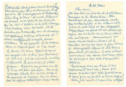 MAGRITTE RENÉ (1898-1967). L.A.S. «Magritte» avec DESSIN, 26 mars [1952, à son ami...