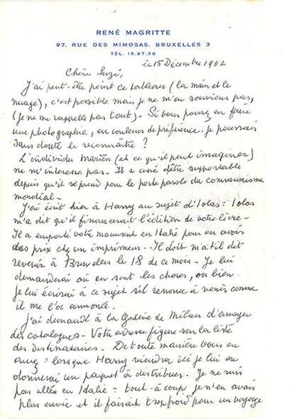 MAGRITTE RENÉ (1898-1967). L.A.S. «RM» avec 2 DESSINS, Bruxelles 15 décembre 1962,...