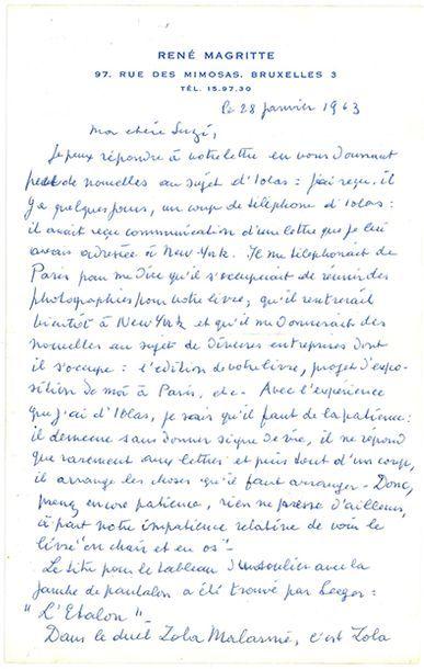 MAGRITTE RENÉ (1898-1967). L.A.S. «RM» avec 2 DESSINS, Bruxelles 28 janvier 1963,...