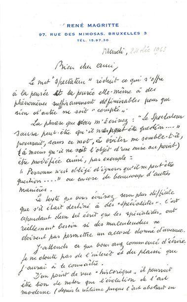 MAGRITTE RENÉ (1898-1967). L.A.S. «RM», Bruxelles Mardi [24 décembre 1963], à André...