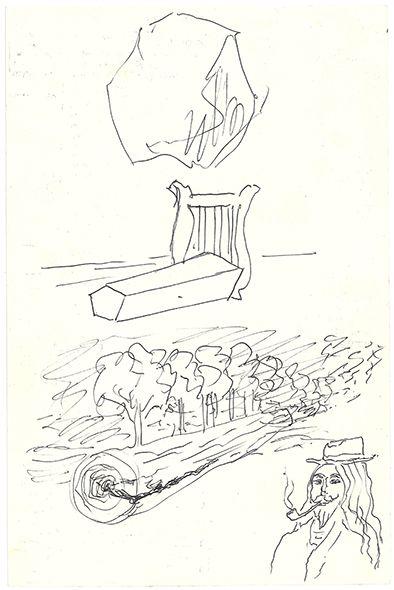 MAGRITTE RENÉ (1898-1967). MANUSCRIT autographe avec 4 DESSINS originaux au verso;...