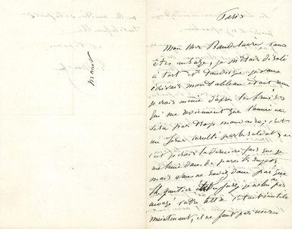 MANET ÉDOUARD (1832-1883). L.A.S. «E. Manet», Paris [vers le 25 mars 1865], à Charles...