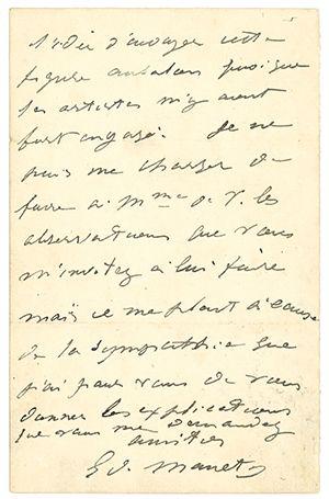 MANET ÉDOUARD (1832-1883). L.A.S. «Ed. Manet», Samedi [1874], à Hector de CALLIAS;...