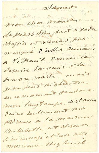 MANET ÉDOUARD (1832-1883). L.A.S. «Ed. Manet», Samedi [6 septembre 1879], à Claude...
