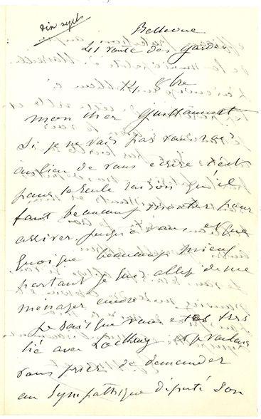 MANET ÉDOUARD (1832-1883). L.A.S. «Ed. Manet», Bellevue 14 octobre [1880], à Jules...