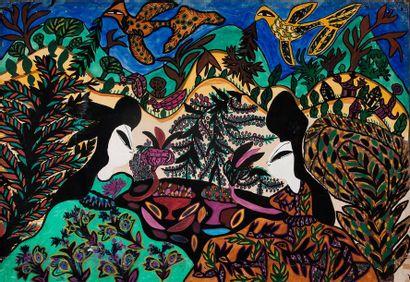 MAHIEDDINE BAYA (1931-1998) Femmes, 1964 Gouache sur papier, signée et datée en bas...
