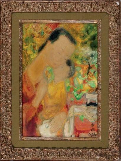 LE PHO 黎谱 (1907-2001) Maternité, n°176 Huile, encre et couleurs sur soie, signée...