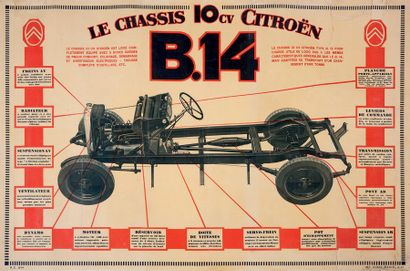 CITROËN Châssis B14 10 cv Affiche originale Paris, Imprimerie Chaix, circa 1927...