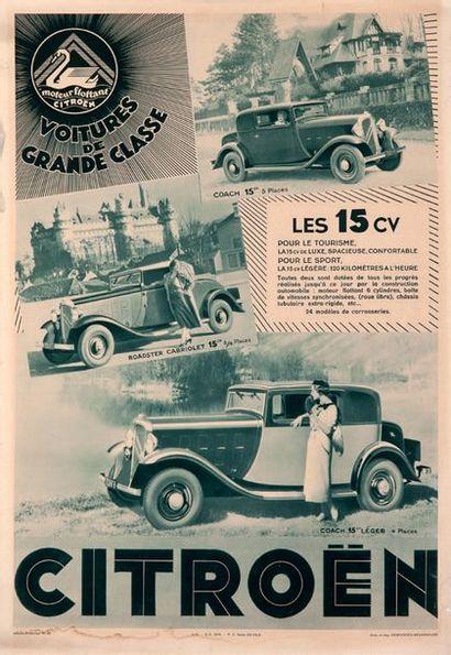 CITROËN Lot de 7 affiches originales, première moitié du XXe siècle Etat d'usage...