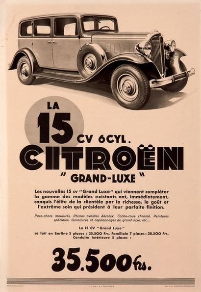 CITROËN La 15 cv 6 cylindres « grand-luxe » Affiche originale Bon état général....