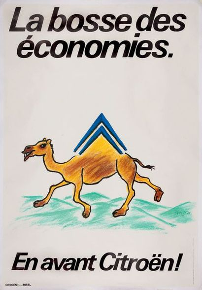 SAVIGNAC La bosse des économies. En avant Citroën ! Affiche originale Entoilée....