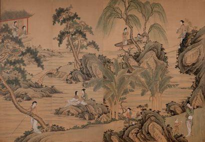 CHINE FIN XIXE-DÉBUT XXE SIÈCLE Peinture en deux panneaux à l'encre et couleurs sur...