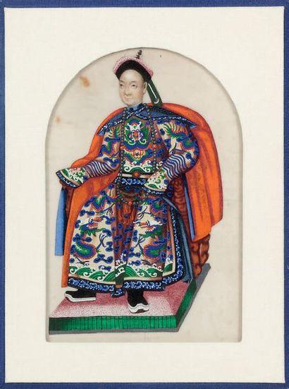 CHINE, Canton Fin XIXe siècle Petite gouache polychrome sur papier de riz, représentant...