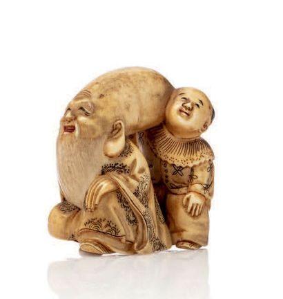 Japon époque MEIJI Netsuke en ivoire représentant le dieu Fukurokuju souriant agenouillé,...