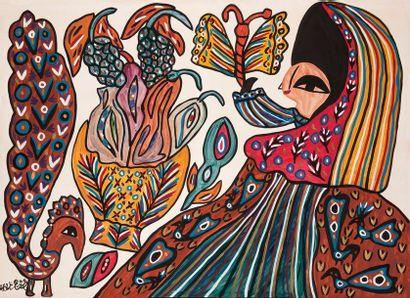 MAHIEDDINE BAYA (1931-1998) Femme au papillon, 1987 Gouache sur papier, signé et...