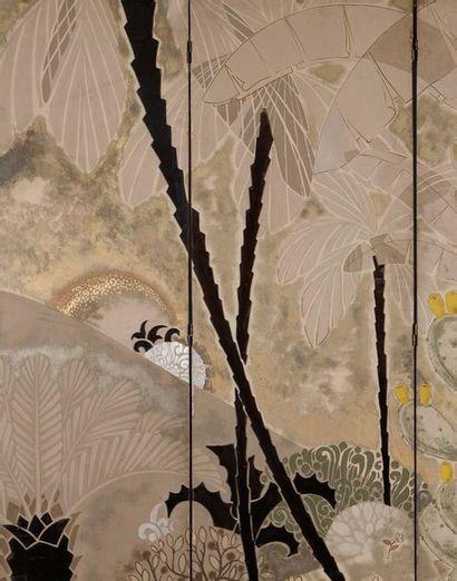 LE VAN DE (1906-1966) Forêt tropicale du Vietnam, 1937 Paravent à 3 feuilles Technique...