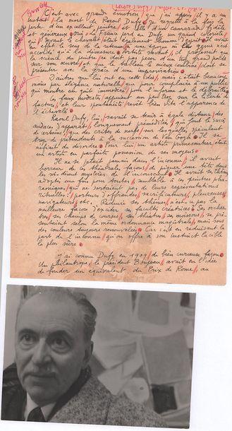 LHOTE (André). 1885-1962. Artiste peintre Manuscrit aut. signé «André Lhote». [23...