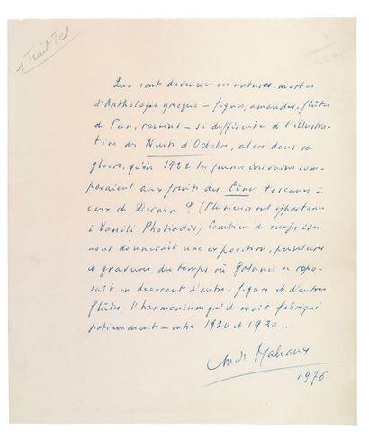 MALRAUX (André). 1901-1976.<br/>Ecrivain, homme politique