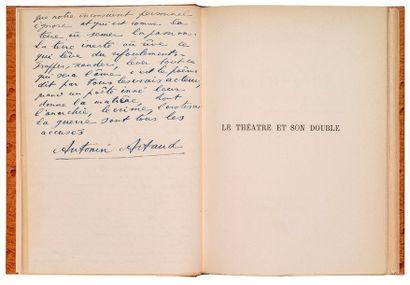 ARTAUD (Antonin) Le Théâtre et son double. Paris, Gallimard, 1944. In-8, autruche...