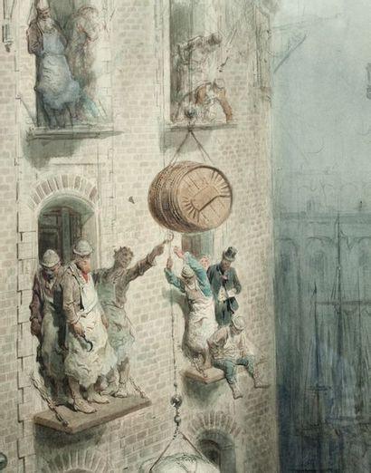 Gustave DORÉ (Strasbourg 1832 - Paris 1883) L'Entreposage en ville Aquarelle sur...