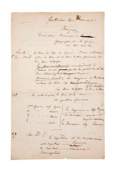 FLAUBERT (Gustave). 1821-1880. Ecrivain. Manuscrit aut. «Histoire de France, Origines»....