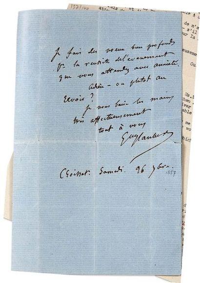FLAUBERT (Gustave). 1821-1880. Ecrivain. L.A.S. à Mme Schlesinger. Croisset, Samedi...