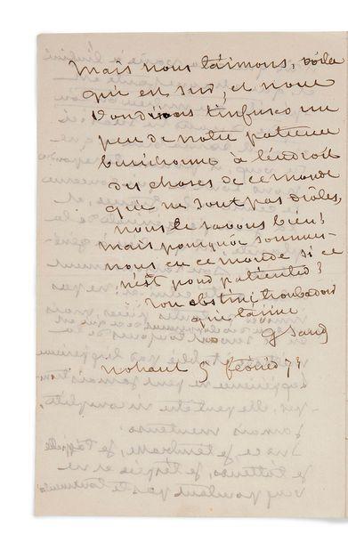 SAND (George). 1804-1876. Romancière. L.A.S. à Gustave Flaubert. Nohant, 5 février...