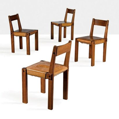 Pierre CHAPO (1927-1986) Set of 4 chairs Elm, leather 30.71 x 16.93 x 16.93 in.