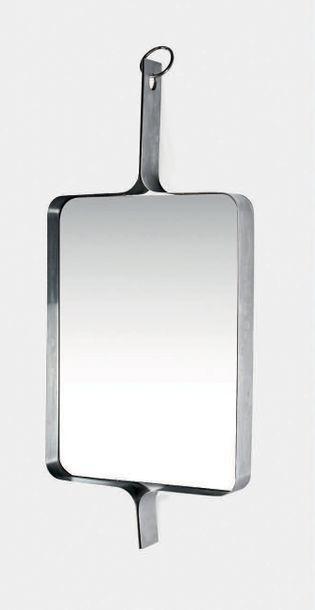 XAVIER FEAL (XX) Miroir Acier, miroir 82 x 56 x 40 cm. Inox Industrie, circa 197...