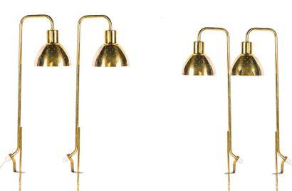 Hans-Agne JAKOBSSON (1919-2009) Suite de 3 lampes dites Flora G98 Métal, laiton H....