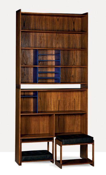 GRETE JALK (1920-2016) Rare meuble de rangement avec tabourets Teck, cuir Meuble:...