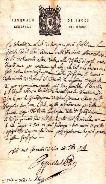 Pasquale PAOLI (1725-1807) patriote corse.