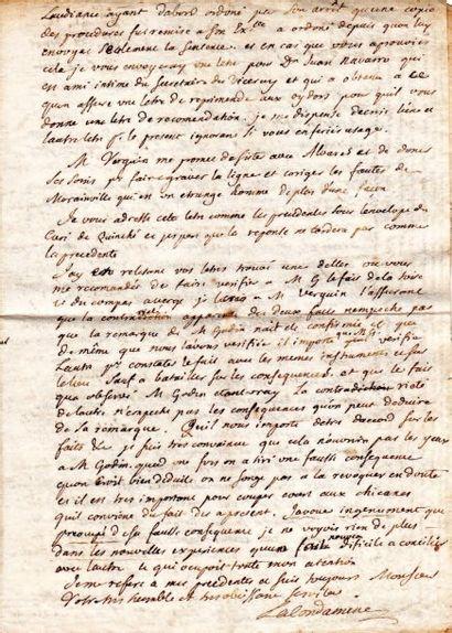 Charles-Marie de LA CONDAMINE (1701-1774) mathématicien, voyageur et littérateur.