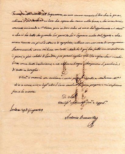 Antonio BUONAVITA (1752-1833) aumônier de Napoléon à sainte-Hélène. 6 L.A.S. et 2...