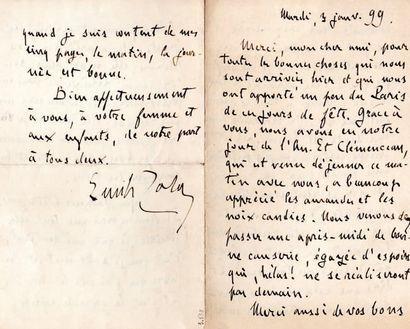 Émile ZOLA L.A.S., [Upper Norwood] 3 janvier 1899, [à son ami Eugène Fasquelle] ;...