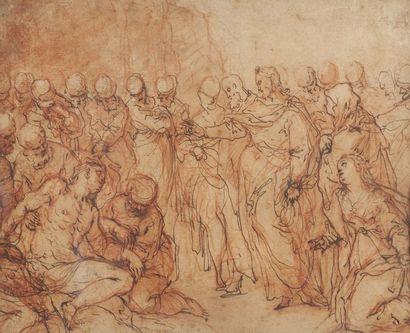 Ecole siennoise de la fin du XVIème siècle  Le Christ et Lazare  Plume et encre...