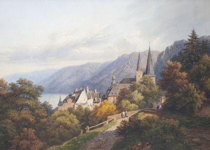 Ecole SUISSE du XIXe siècle  Paysage lacustre animé sur fond de montagnes  Aquarelle...