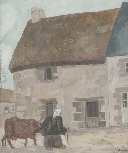 Jean Emile LABOUREUR  (Nantes 1877 – Pénestin 1943)  Vieille femme à la vache  Gouache...