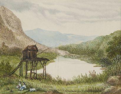 George SAND (1804 -1876)  Deux enfants près...