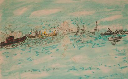 Jean FUSARO (né en 1925)  Bateaux à l'entrée du port (probablement) de Sète  Pastel....