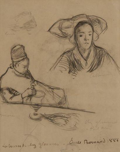 Emile BERNARD (1868-1941)  Bretonnes, Marie, Catherine et Louise  Pierre noire....