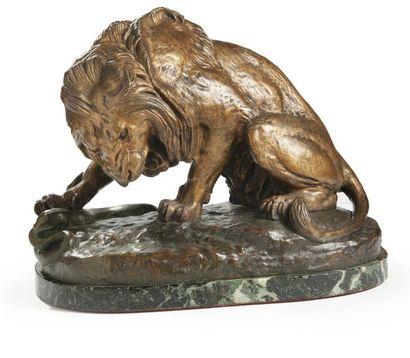 Antoine-Louis BARYE (1795-1875), d'après Lion au serpent Epreuve en bronze doré...