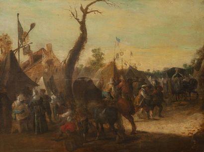 Ecole HOLLANDAISE  du XVIIIe siècle  Cavaliers...