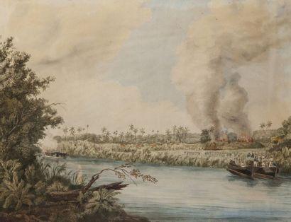Ecole du XIXème  Débarquement du Commandant de Landé à Malouzo  Probablement la...