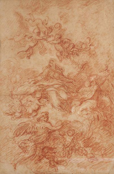 Ecole française vers 1760  L'Assomption de la Vierge  Sanguine et rehauts de craie...
