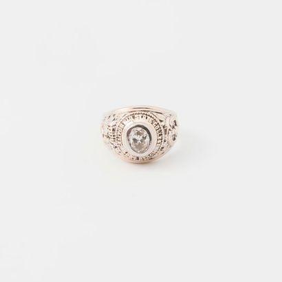 Bague chevalière bombée, en or gris 18K (750...