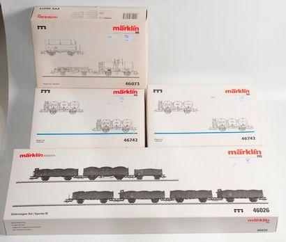 MARKLIN «HO»: Coffret de wagons marchandises,...