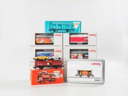MARKLIN «HO»:Wagons marchandises dont,...
